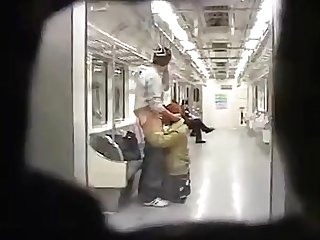 Korean bj on subway with riders present