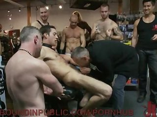 Stud gets his hole filled at leather store
