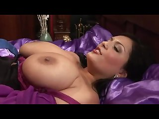 Burly baldhead lover touches juicy melons through the purple blouse