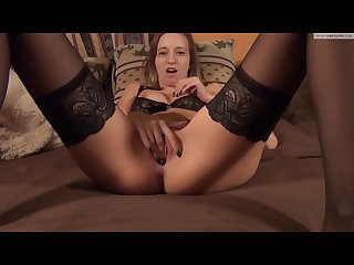 Black stocking footjob