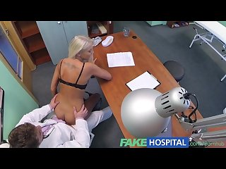 Fakehospital doctors hot blonde wife demands his seed in his office