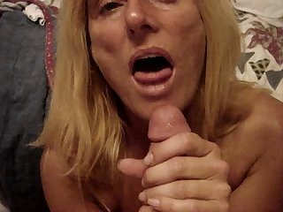 Filthy white trash whore begging for jizz gets mouthful of cum and swallows