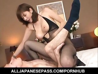 Yuma asami sucks dong and is nailed by it through crotchless
