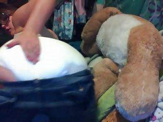 Girl plays in diaper