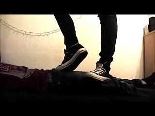 Girlfriend Converse trample and ballbusting
