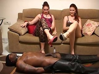 Interracial double footjob milking