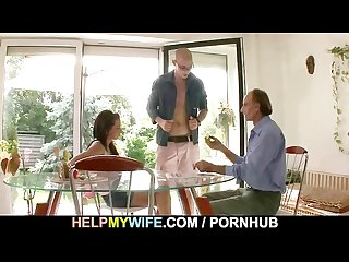 A guy is invited to bang old s man sexy wife
