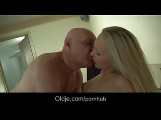 Bald old perv catches his younger blonde girlfriend masturbating and ends h