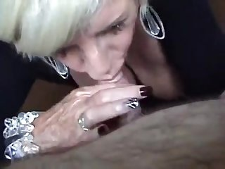 Blonde busty mature blowjob and Titfuck