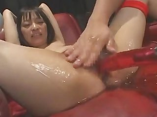 Japanese girl inserted cam inside and fucked by machine