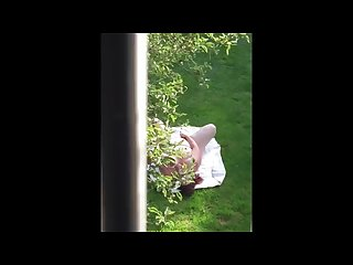 Neighbour caught masturbating in the garden