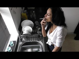 Girlfriend smoking in the kitchen Downblouse big natural tits cassie