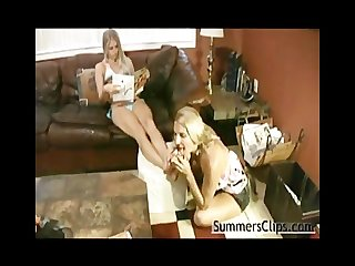 Mom worships daughters feet