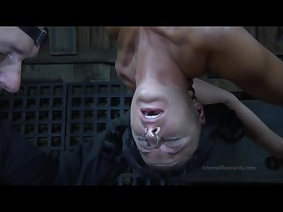Strappado claustrophobia and orgasm predicament for captive girl