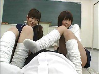 Japanese schoolgirl footjob