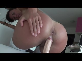 I jumping on dildo by my hairy pussy in white stockings