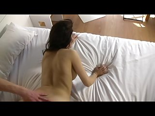 Young spanish couple enjoys their first porn scene