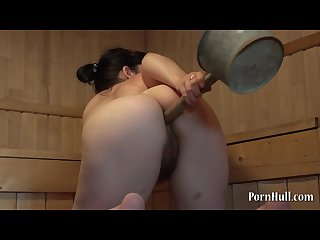 Girl in the Sauna fucks ass ladle