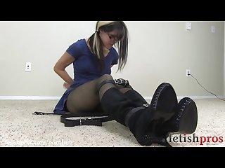 Belt bondage struggle dress stockings and boots