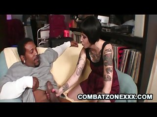 Daisy sparks tattooed covered brunette bitch handling a fat black cock