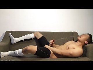 Football jock post game jerkoff cums huge load