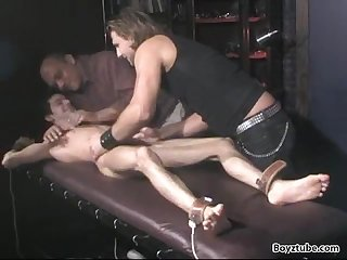 Slender Twink edged and tickled by old guy
