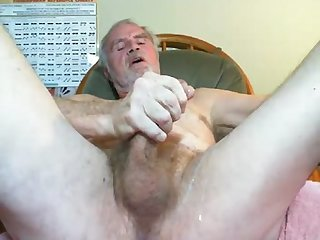 Old grey haired guy shooting his load