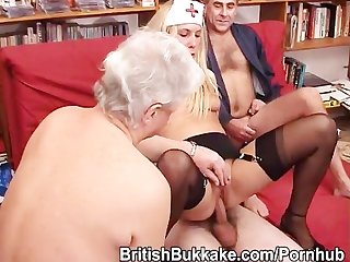 A younger blonde nurse is fucked by a group of grandpas