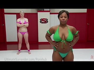 Hot interracial lesbian Wrestling