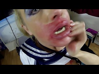 Sloppy messy spit covered running make up blow job slave sookie pse