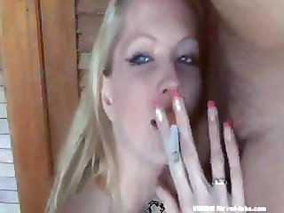Sexy blonde smoking blowjob