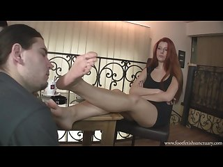 Goddess victoria and her friend make a slave worship their feet
