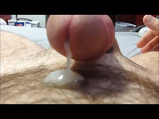 Playing with my cum hands free orgasm cum all over my dick