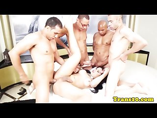 Latin bukkake tgirl with big ass groupfucked