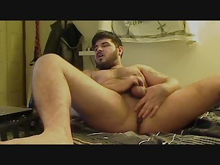 Bearded beefy rugby cub jerks and fucks himself with toys