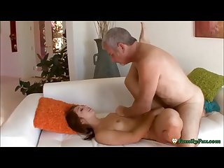 Teen cockslut fucking old man to avoid being punished