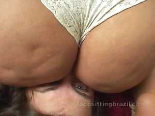 Brazilian mistress with big ass smothers her slave