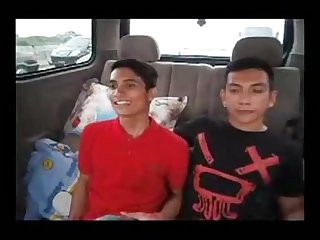 Indonesian boys in a car