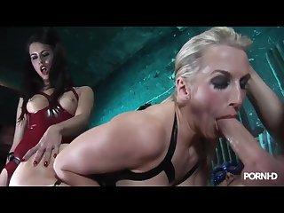Rebecca More & Megan Coxxx latex fetish threesome