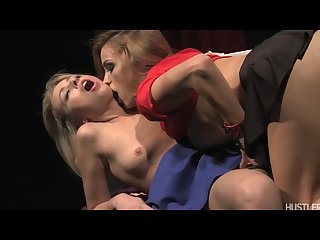Blonde slut sacrifices herself to two pussy hungry lesbian vampires