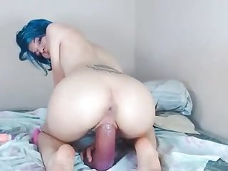 Small asian huge dildo ride