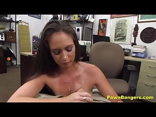 Brunette milf takes huge cock in desk fuck
