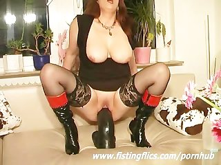 Monster dildo fucking amateur whore
