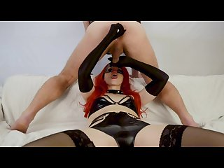 Latex mistress does prostate massage and blowjob cock milking cum in mouth