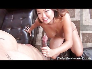 Asian brunette gigi skye gets face fucked