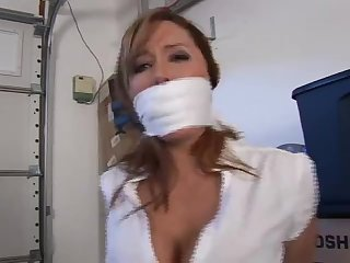 Busty milf chair tied mouth stuffed otm gagged