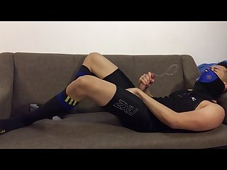 Post workout jerk off slowmo cum in tights and football socks