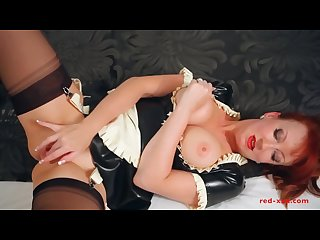 Bitish milf red fucks herself wearing a sexy latex Maids uniform