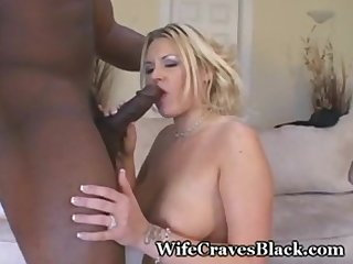 Blonde wife engulfs two black studs