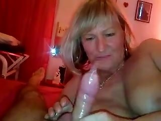 Mature german granny fucks him makes him cum with her handjob